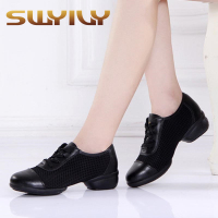 Genuine Leather Mesh Breathable Women Dance Shoes 4 5CM Heel 34 44 Plus Size Soft Outsole