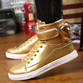 2017 New Hip Hop Shoes Golden High Top Men'S Casual Shoes British Spring  Gold Shoes Men Fashion Big Size 46 Boots Students