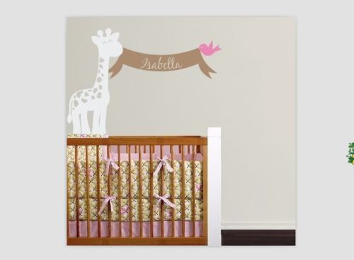 personalized name giraffe vinyl decal wall sticker art mural nursery