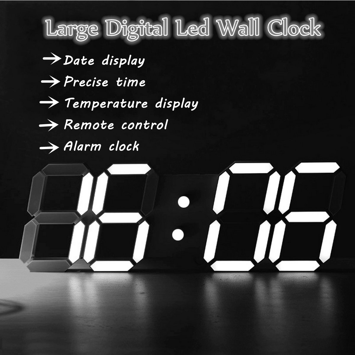 Charminer Large Led Digital Wall Clock Modern Design Show Countdown Wall Watch In The Living Room Remote Control