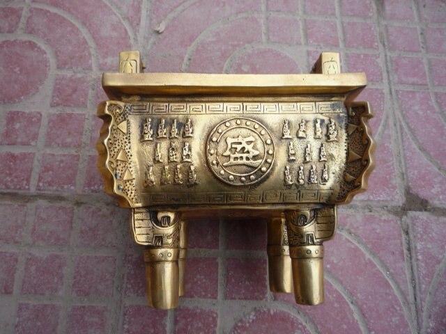 Редкий Старый династии Цин медный Ding(штатив с двумя ручками), резной слон, с отметкой, лучшая коллекция и украшение