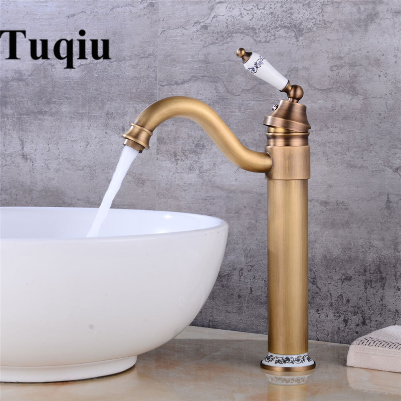High Arch Basin Faucet New Deck Bathroom Basin Sink Mixer Tap Polished Antique Gold Faucet Faucet