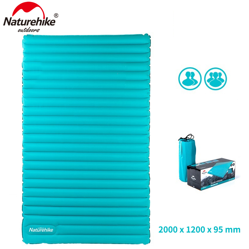 NatureHike 2 person double Inflating Lightweight Sleeping Pad outdoor camping mat tent Inflatable air mattress 200cm*140cm*9.5cm wild outdoor naturehike self inflating sleeping pad with attached pillow compact lightweight air mattress for camping hiking