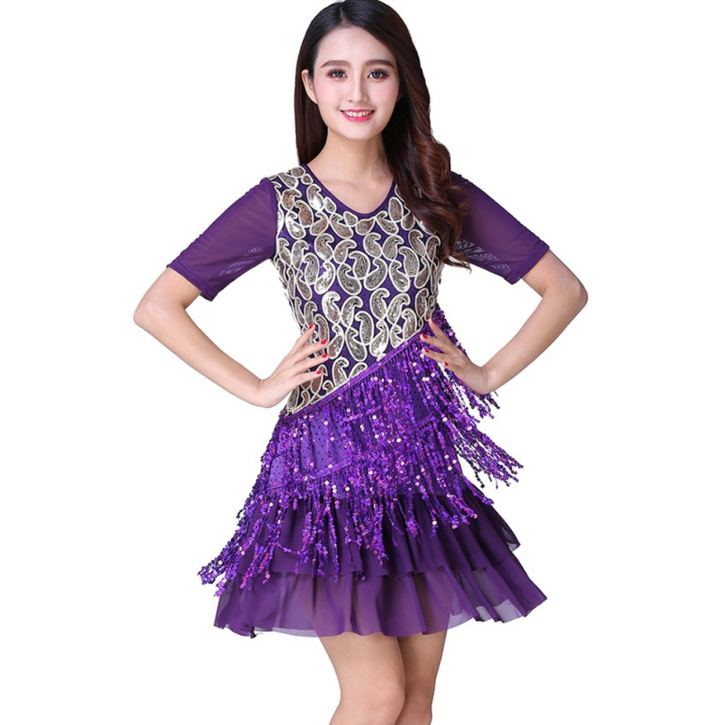 Latin Ballroom Dance Dress Fringe Sequined M/L/XL/2XL/3XL Two Color Black Blue Lady Latin Dance Clothers New Fashion
