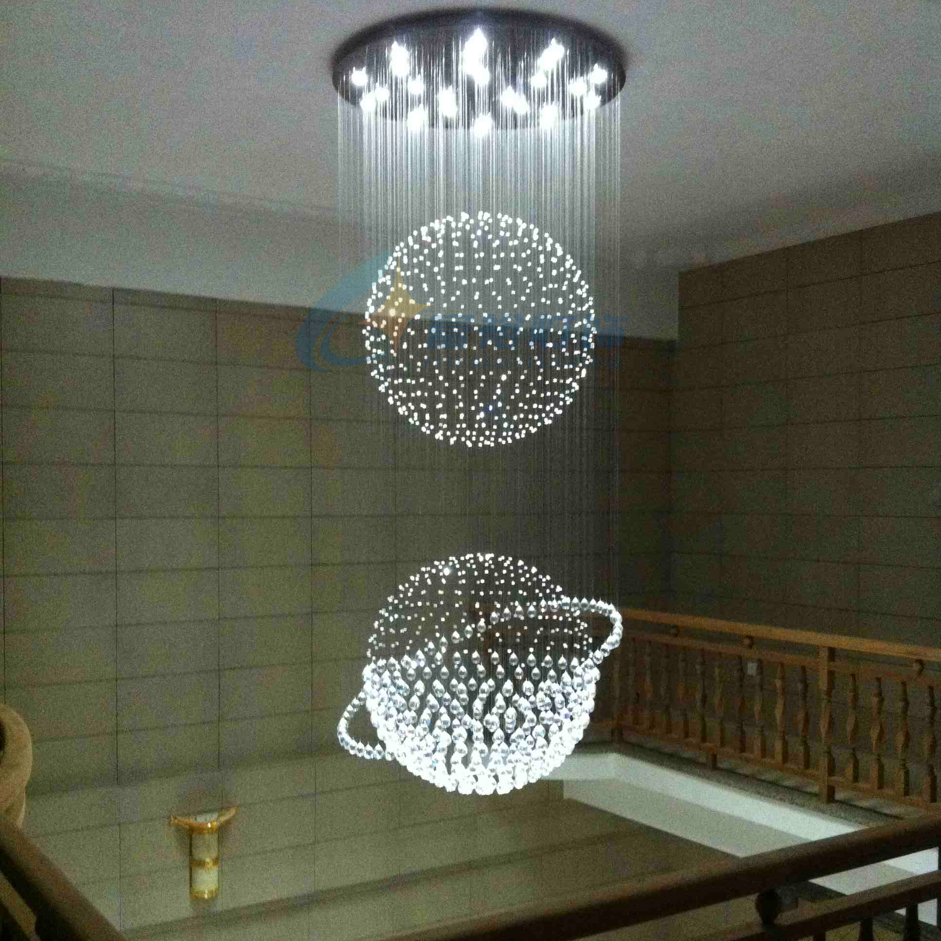 Crystal Pendant Light Led Restaurant Lights Modern Brief Lamps Stair Lamp Large 8632 In From Lighting On
