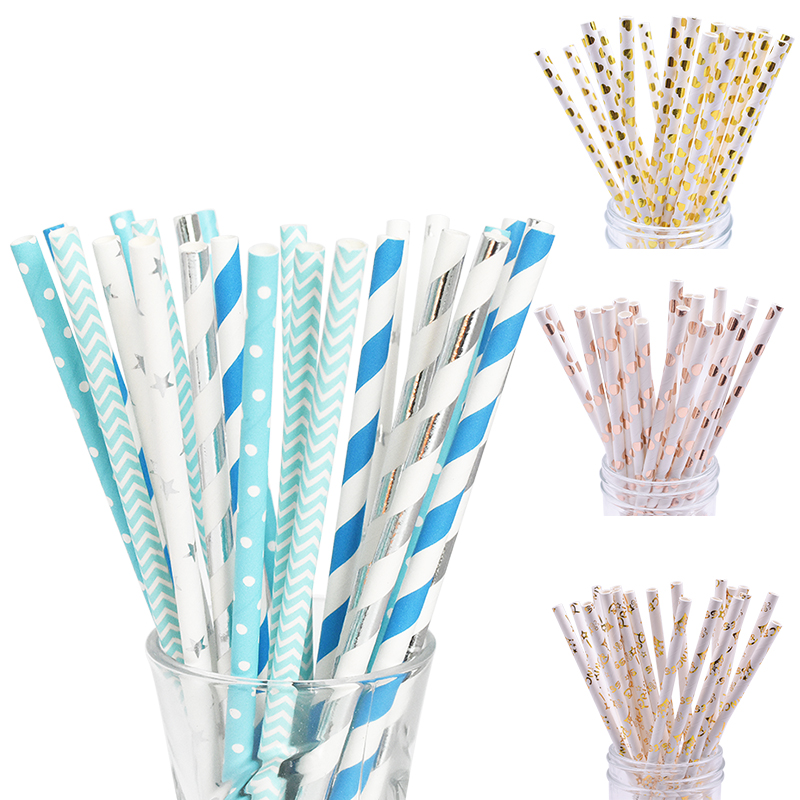 25pcs Multicolor Paper Drinking Straws Party Supplies Straws DIY Table Decor Kids Birthday Baby Shower Christmas Event Supplies