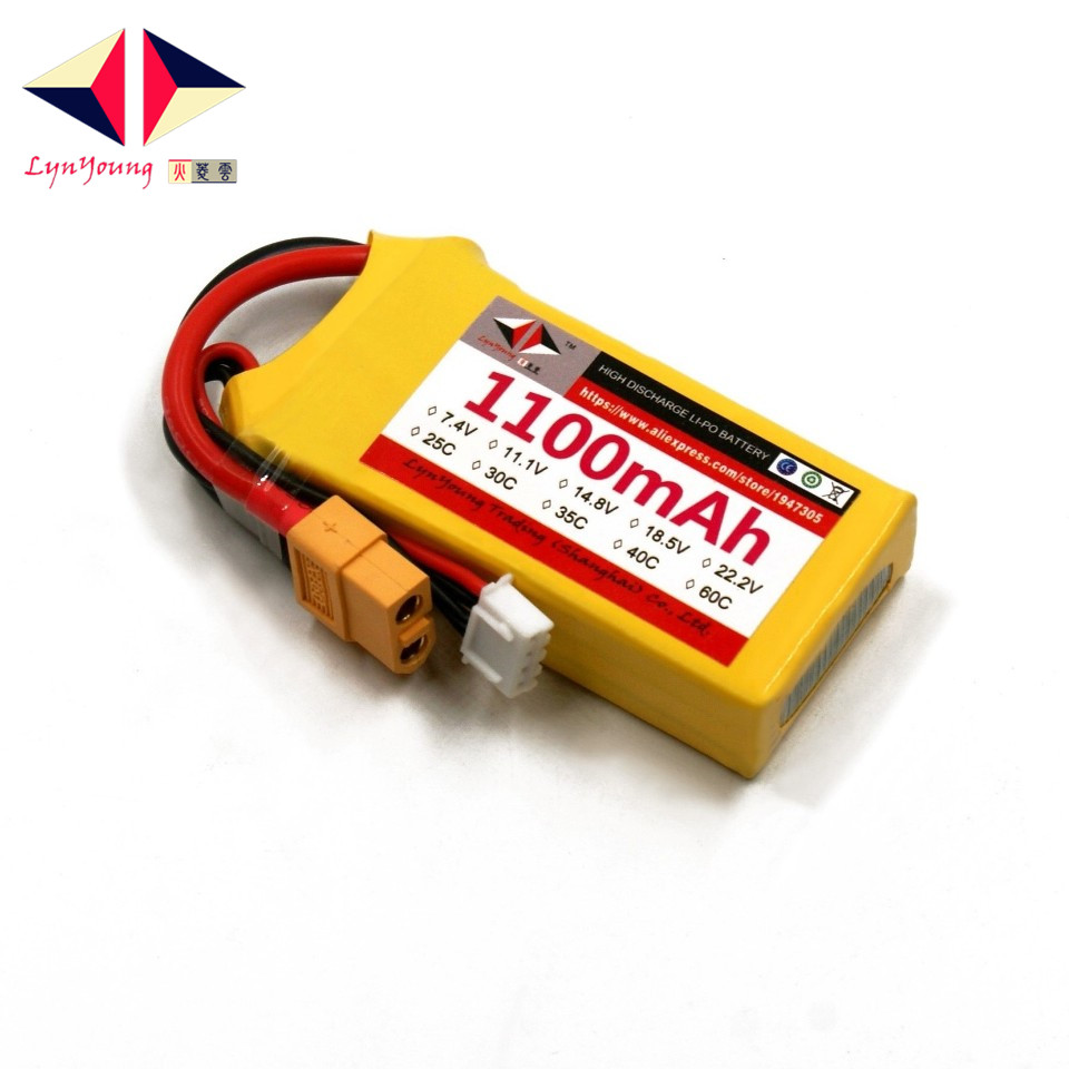 LYNYOUNG <font><b>lipo</b></font> <font><b>3s</b></font> rc <font><b>battery</b></font> 11.1v 35C 1100mAh for Car Truck Drone Airplane helicopter
