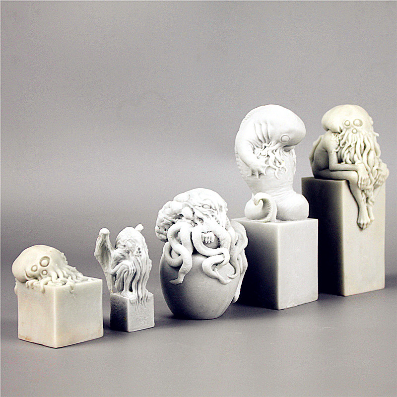 5 Pcs/set Cthulhu Mythos The Thinker Sculpture Great Old Ones Cthulhu Childhood Resin Statue Purely Manual, Art, Crafts L2762 mythos mythos i