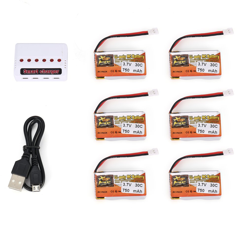 6Pcs 3.7V 750mAh/1200mAh 30C 1S/JST Plug Lipo Battery Rechargeable with 6 in 1 USB Charger for RC Racing Drone Helicopter Car image