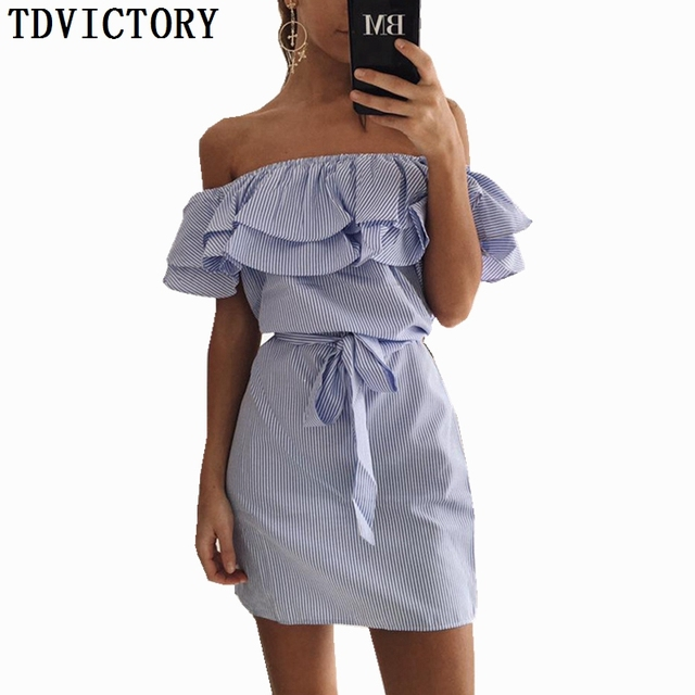 42a4bb4df9a TDVICTORY 2019 Women Summer Striped Dress Sexy Slash Neck Off Shoulder  Backless Ruffle Mini Casual Dress Sundress With Sashes