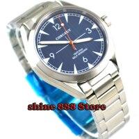 Escovado 41mm corgeut blue dial strap Sapphire Vidro de Aço Inoxidável automatic mens Watch