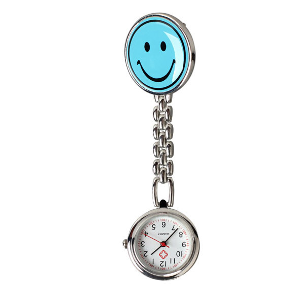 Blue Pocket Watch Smile Face Nurse Table Pocket Watch with Clip Brooch Chain Qua
