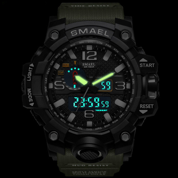 SMAEL Brand Men Sports Watches Dual Display Analog Digital LED Electronic Quartz Wristwatches Waterproof Swimming Military Watch 3