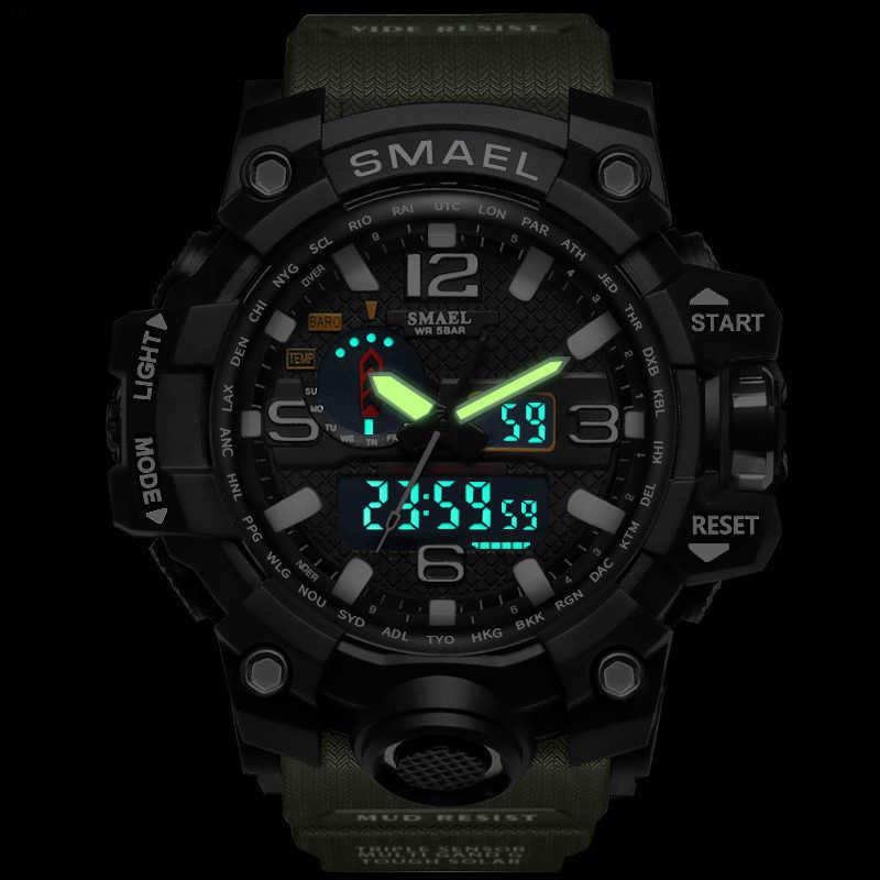 Smael marca masculino esportes relógios dupla display analógico digital led eletrônico quartzo relógios de pulso à prova dwaterproof água natação militar relógio