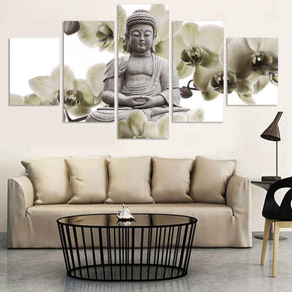 NO FRAME 5 Panel Large orchid background Buddha Painting Fengshui ...