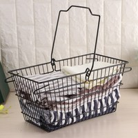 Portable Iron art Storage basket Metal Mesh Grid With Handle Fruits Storage Organizer Holder Home Decoration Sundries Basket