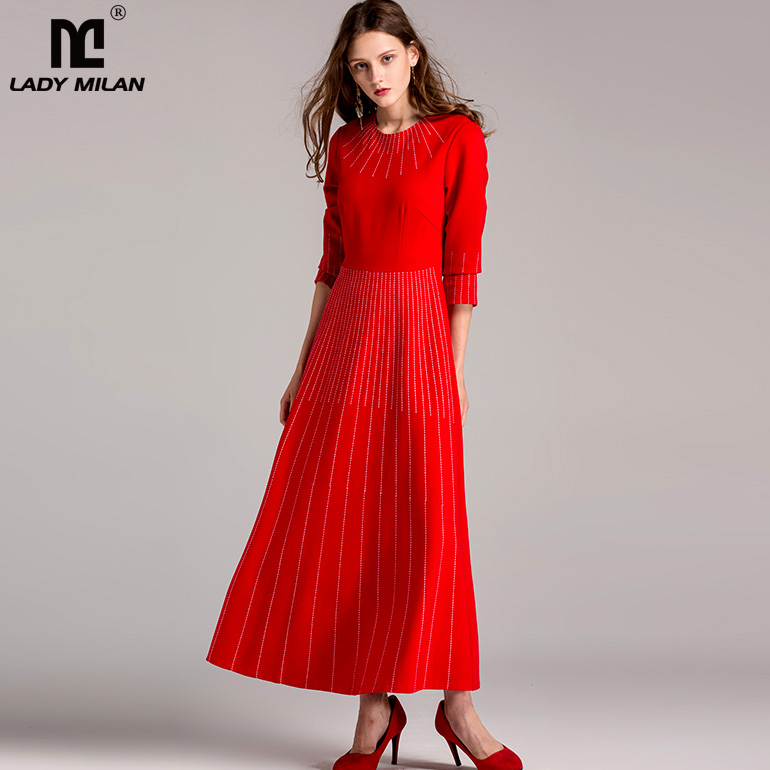 New Arrival 2018 Womens O Neck 3/4 Sleeves Striped Elegant Long Prom High Street Dresses in 2 Colors