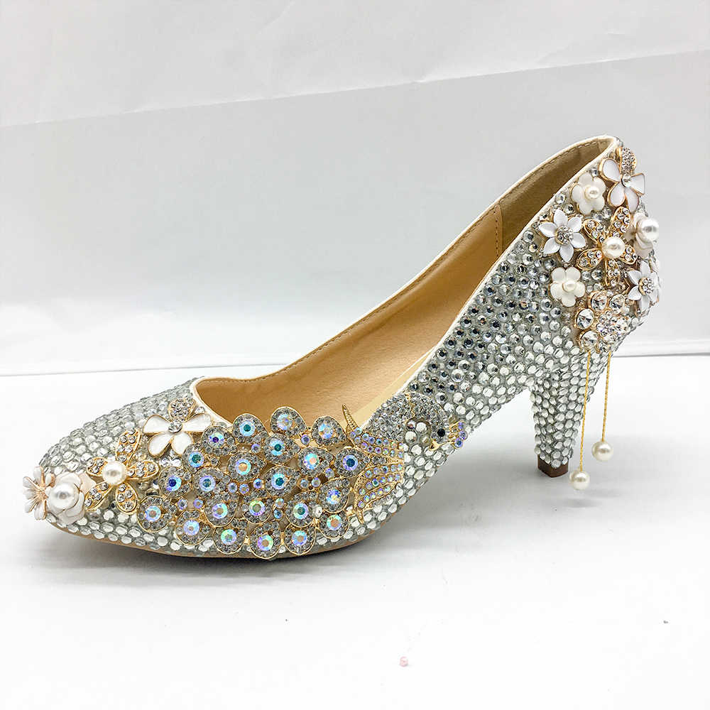 Silver Crystal Shoes Women Pumps Graceful Classic Bride Party Wedding Shoes  5-6cm Lower Middle f2e71212aa81