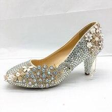 b5fb55bb6 Sapatos De Cristal de prata Mulheres Bombas Graciosa Sapatos de Casamento  Festa de Noiva Clássico 5