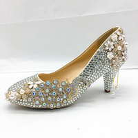 Silver Crystal Shoes Women Pumps Graceful Classic Bride Party Wedding Shoes 5 6cm Lower Middle Heels Personalized Custom Design