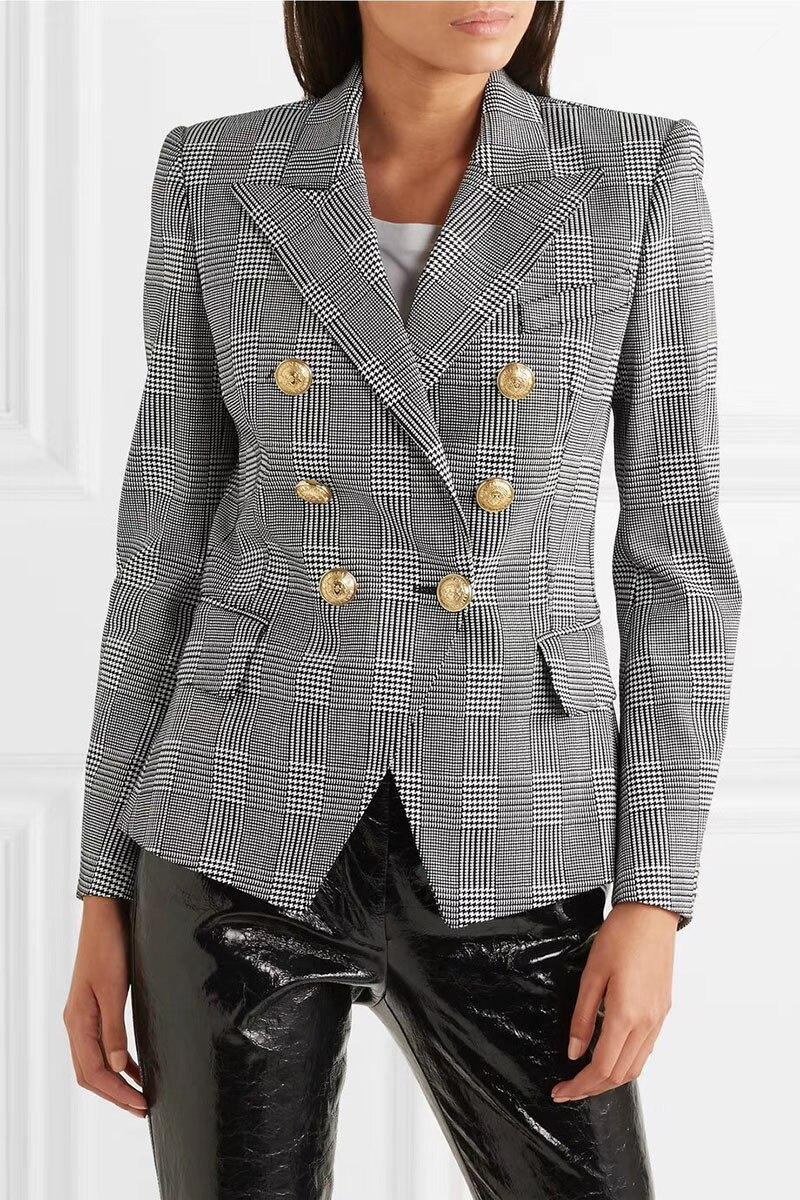 VOEUX Noir Blanc À Double Boutonnage Prince de Galles vérifié Blazer 2018 Femme Blazers Adaptés signature en relief or Boutons