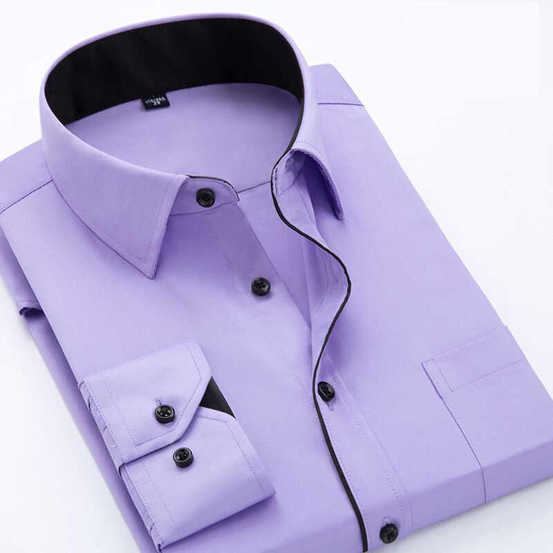 Koszule biznesowe mężczyźni z długim rękawem Plus rozmiar 4XL wysokiej jakości koszulka solid hombre przyczynowy Slim Fit koszulka camisa masculina
