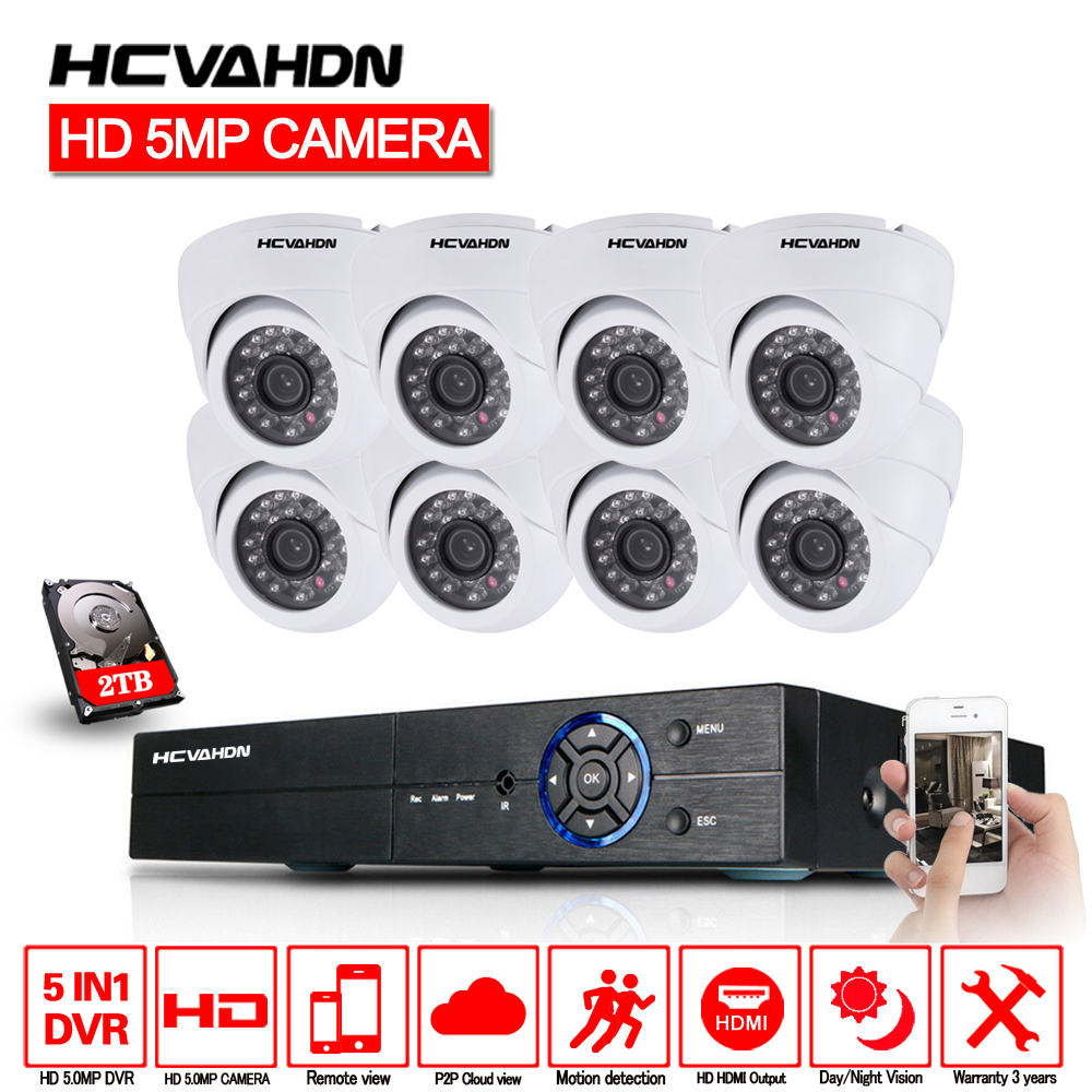 HCVAHDN 5MP CCTV System 8CH DVR kit 8Pcs 5MP Camera indoor Outdoor Dome AHD CCTV Camera System XMeye Remote View