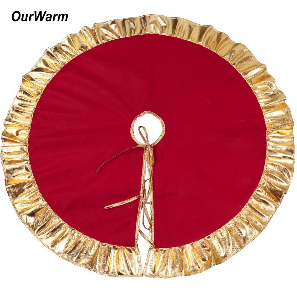 "OurWarm 36"" Red Christmas Tree Skirt New Year Xmas Tree ..."