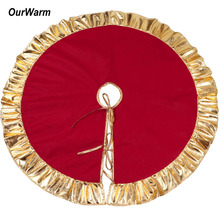 OurWarm Christmas Tree Skirt Xmas Carpet Rug Base for Home Gold Stamping Red Color Party Decoration New Year 2019