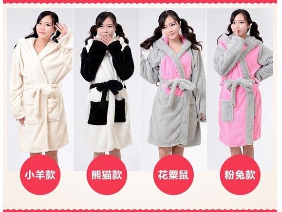 Nuevo Animal del traje de felpa ovejas Panda ratón conejo pijama pijama de dormir Unisex pijamas albornoz batas para mujeres
