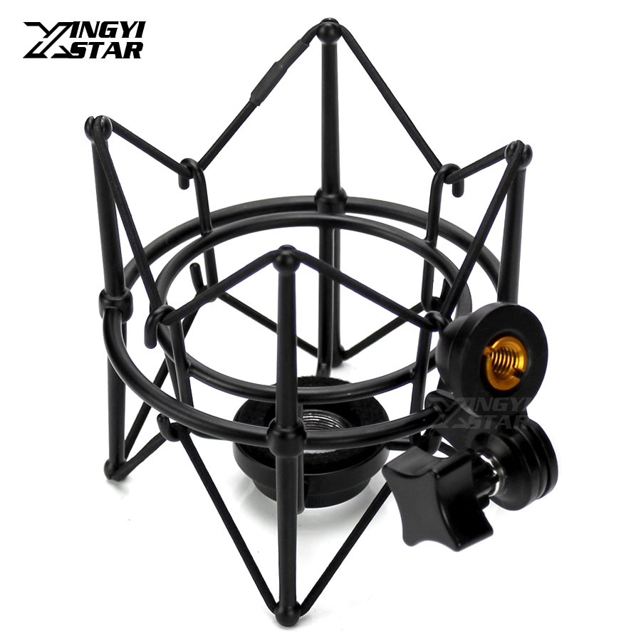 Metal Shock Mount Stand Microphone Spider Shockmount Mic Holder Shockproof For Audio Technica ATR2500 AE3000 AE2500 AT2020 BM700 Liberty Garden Products