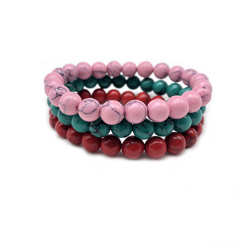 Trendy Natural Stone Love red green pink Coral Turquois Bead Bracelet Vintage Charm Bracelets Jewelry For Women Friend Gift 8mm