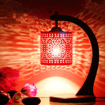 Retro Living Room Study Room Vintage Old Fashion Ceramic Red Lampshades Table  Lamp Fatheru0027s Day Gifts