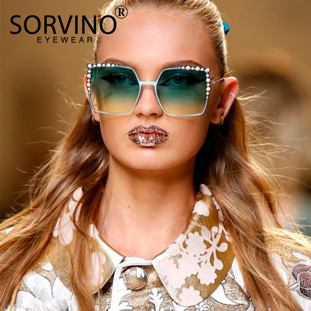 ac3711a72f8df SORVINO Oversized Pink Rhinestone Square Sunglasses 2018 Women Brand  Designer Retro Lady Sun Glasses Luxury Fashion Shades SVN42