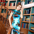The High Quality New Fashion Silk Long Dress Autumn Retro Slim Dress Blue Color with Printing Elegant Dress
