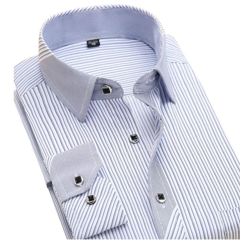 Новый 2017 осень полосатый мужская мода рубашки с длинным рукавом бренд одежды социального фактурной железа деловых мужская повседневная рубашка