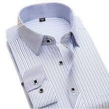 Neue 2017 herbst striped fashion männer hemden langarm marke clothing sozialen nicht eisen formale freizeithemd