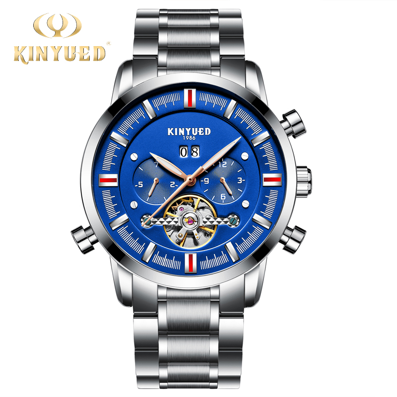 KINYUED Mens Watches Top Brand Luxury Self-wind Business Watch Men Mechanical Automatic Skeleton Male Hand Hours montre homme outad men skeleton mechanical hand wind watch leather top brands luxury male montre homme rome number display wristwatch relogio