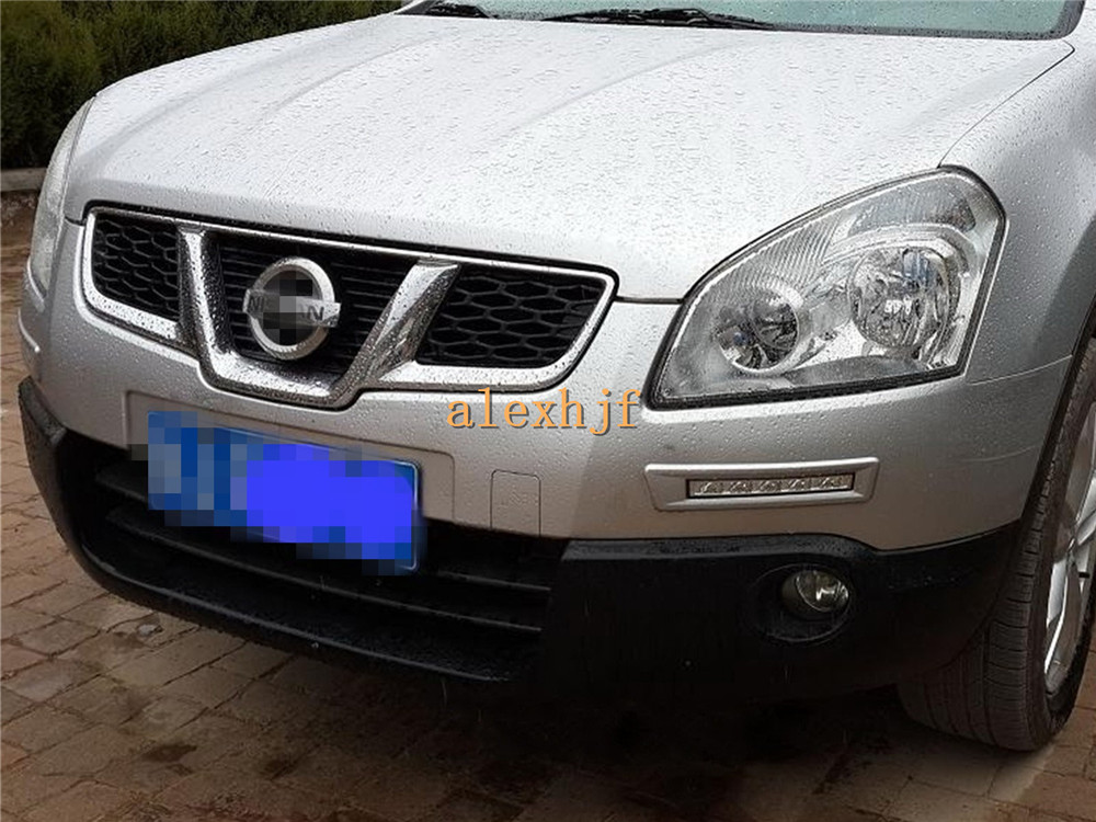 July King LED Front Bumper Daytime Running Lights DRL, LED Fog Lamp Case for Nissan Qashqai, Red Black Silver frame can Choose dongzhen fit for nissan bluebird sylphy almera led red rear bumper reflectors light night running brake warning lights lamp