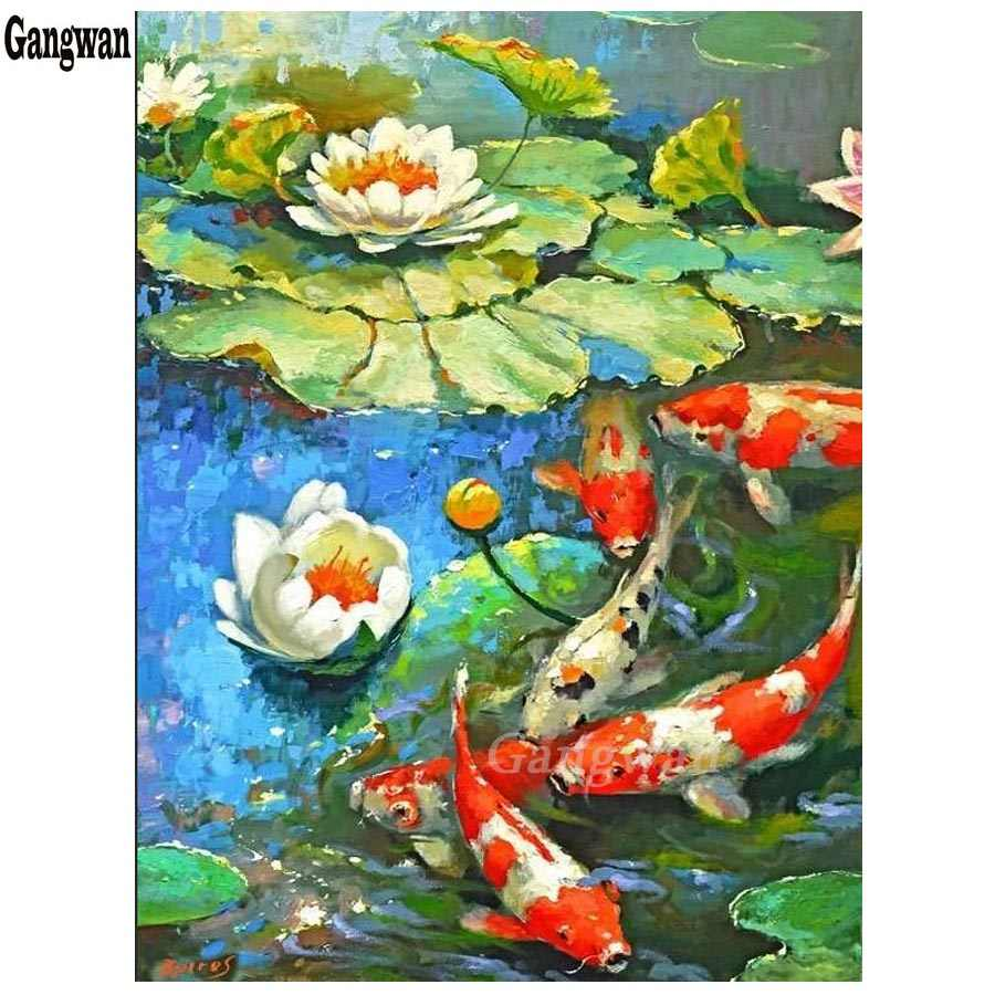 NEW Diamond Painting Cross Stitch Diamond Embroidery koi fish world crystal drill Chinese style Picture Full Rhinestones decor