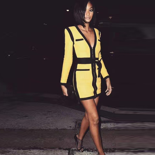 bf548c5bbeb HIGH QUALITY Newest Fashion 2018 Designer Sexy Club Party Dress Women s  Long Sleeve Zip Front Yellow Bodycon Bandage Dress