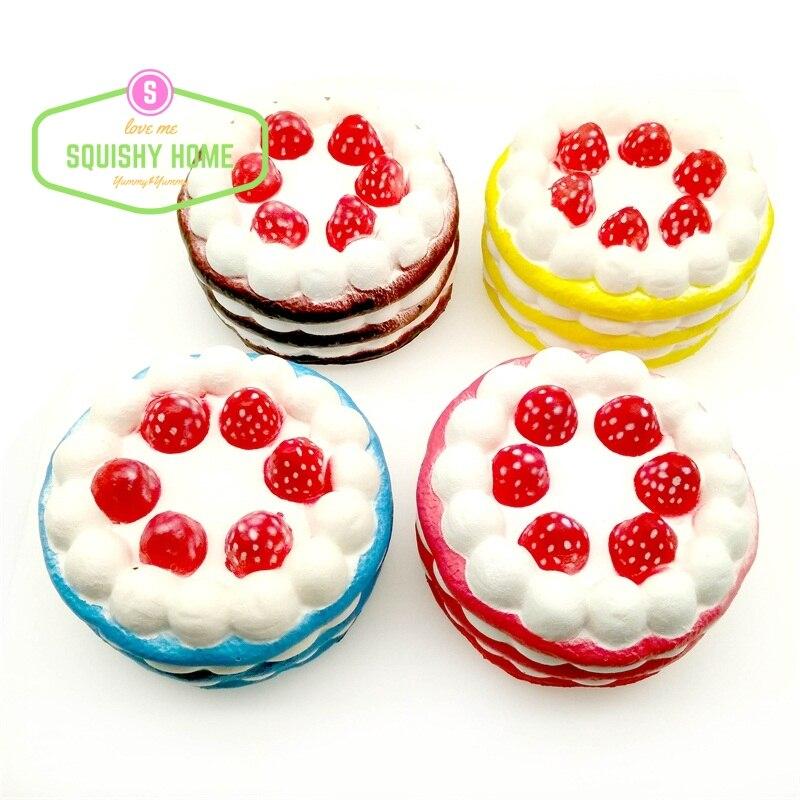 bilder für Neue Auf Lager 12 STÜCKE Günstige 10 s bis 15 s Jumbo Super Langsam Steigenden Squishy Erdbeere Kuchen Creme Squishy kuchen Kostenloser Versand