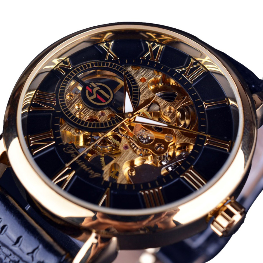 Mens Mechanical Watches Top Brand Luxury Hollow Skeleton Watch Vintage Men Watch Gold Leather Strap Mechanical Wristwatch Men|Mechanical Watches| |  - title=