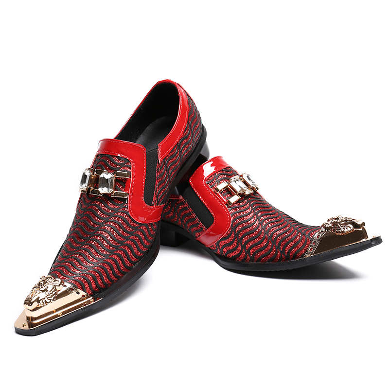Hombre Moda Show Toe Couro Homens Designer Decoração Apontou Sapatos De Luxo Zapatos Mens Metal Marca Apartamentos As Vermelho Onda StfSd