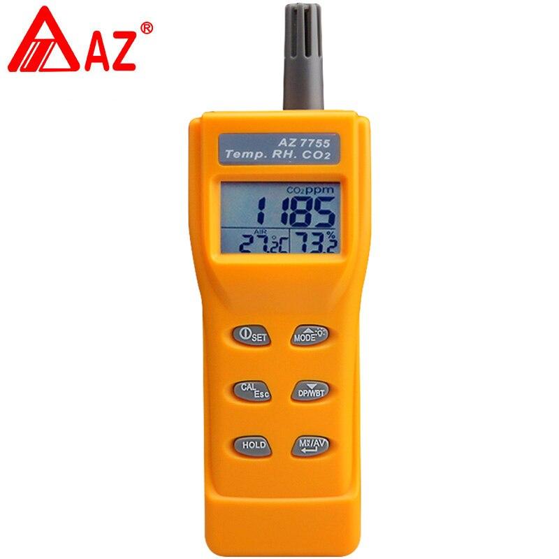 AZ7755 CO2 gaz testeur 3 in1 RH TEMP gaz de dioxyde de carbone concentration détecteur de dioxyde de carbone détecteur compteur CO2 Mètre