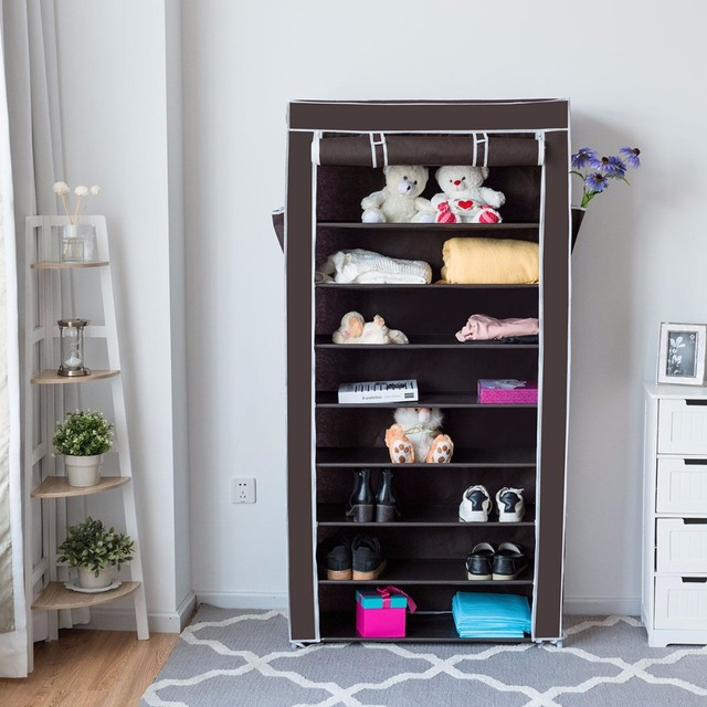 Charmant Giantex 10 Tier Shoe Tower Rack With Fabric Cover 27 Pair Shoes Cabinet  Home Space Saving