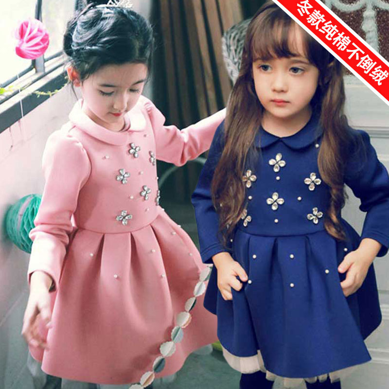 Fashion Long Sleeve Girl Princess Dress Winter Baby Girl Party Tutu Dresss Cotton Thick Velvet Vetement Fille Dress