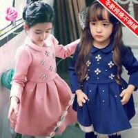 Moda de Manga Larga Muchacha de La Princesa de Invierno Vestido de Partido Del Bebé Del Tutú Dresss Vestido de Algodón Grueso Terciopelo Vetement Fille