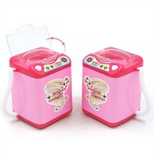 Washing Machine For Toy Dollhouse Mini Makeup Brush Cleaning Electric Pink Toys Pretend Play Kids Furniture