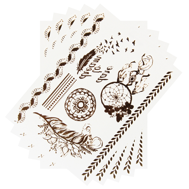 5 Sheets 06 Temporary Tattoo Decals Disposable Tattoos Stickers